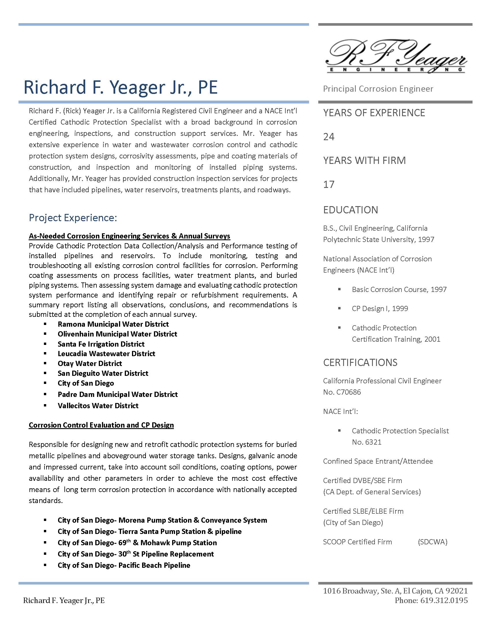 RF Yeager Resume