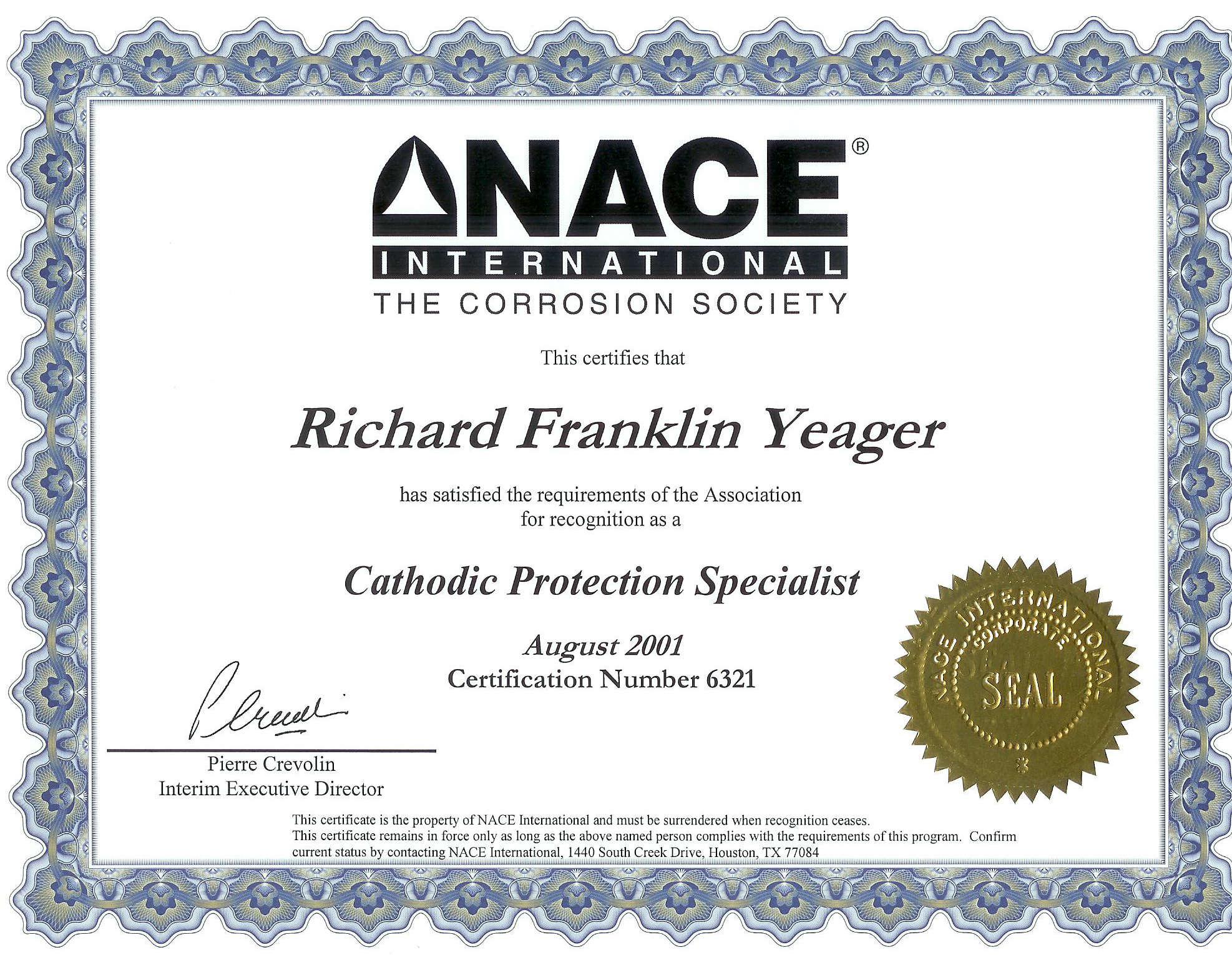 certification nace protection certified executive engineering yeager specialist houston tx rick training courses save